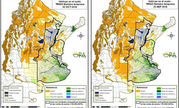 Reservas de humedad al 2 de octubre y 25 de septiembre, respectivamente.