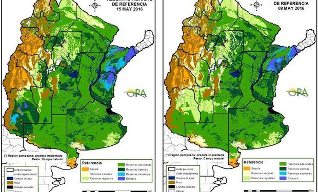 Reservas de humedad comparativamente al 15 y al 8 de mayo.