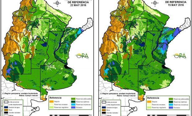 Reservas de humedad al 22 y 15 de mayo comparativamente.