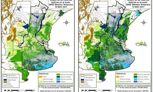Los mapas corresponden a la estimación de contenido de agua en el suelo para lotes de maíz de siembra temprana