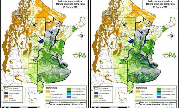 Reservas de humedad al 21 y 14 de agosto respectivamente. Fuente: ORA.