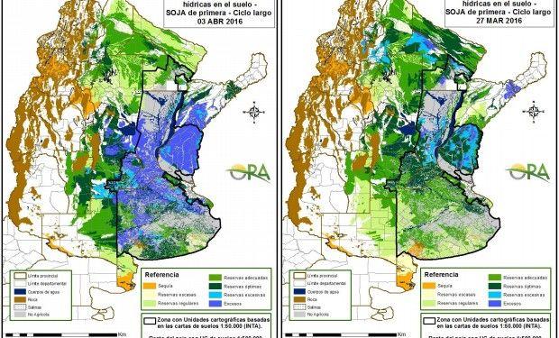 Reservas de humedad comparativamente al 3 de abril y 27 de marzo.