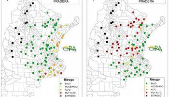 Clima: aumenta la cantidad de puntos clasificados con riesgo muy alto de déficit hídrico