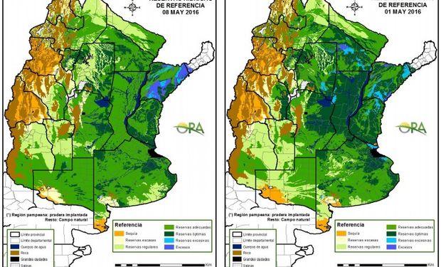 Reservas de humedad al 8 y 1 de mayo respectivamente.