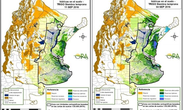 Reservas de humedad al 11 y al 4 de septiembre respectivamente.