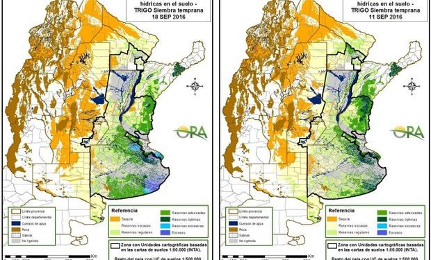 Reservas de humedad al 18 y al 11 de septiembre respectivamente.
