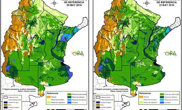 Reservas de humedad al 29 y 22 de mayo comparativamente.