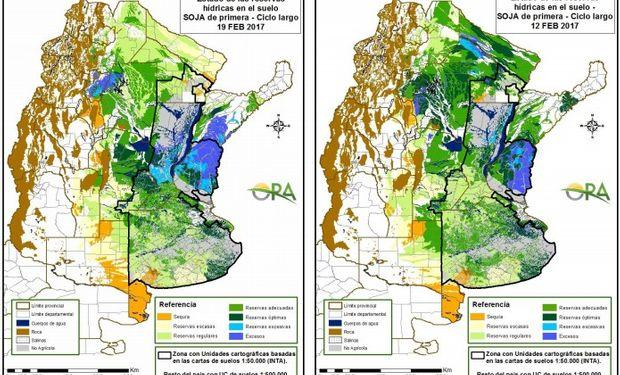 Reservas de humedad al 19 y 12 de febrero respectivamente.