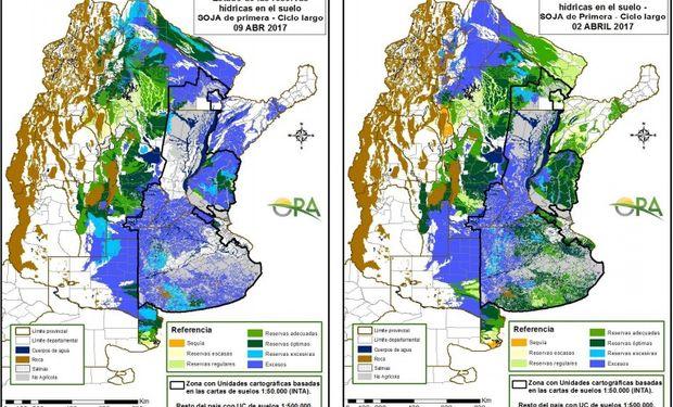 Reservas de humedad al 9 y 2 de abril respectivamente.