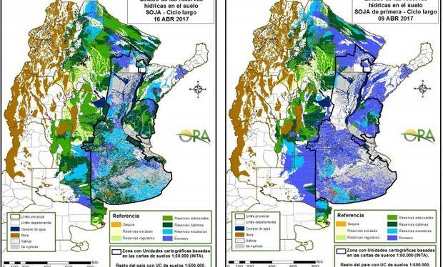 Reservas de humedad al 16 y 9 de abril respectivamente.