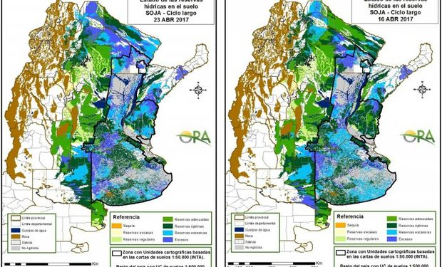 Reservas de humedad al 23 y 16 de abril respectivamente.