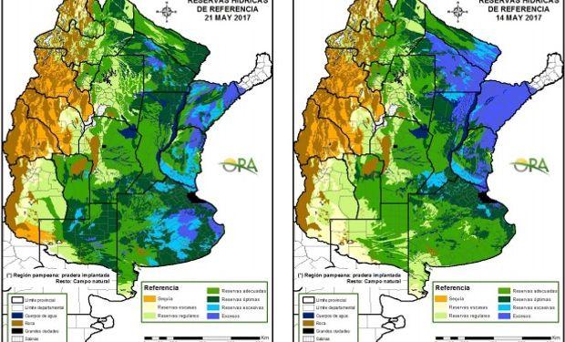 Reservas de humedad al 21 y 14 de mayo respectivamente.
