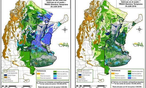 Reservas de humedad en trigo al 26 y 19 de junio respectivamente.