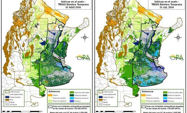 Reservas de humedad al 7 de agosto y al 31 de julio, respectivamente.