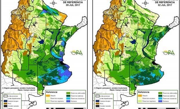 Reservas de humedad al 9 y 2 de julio respectivamente.