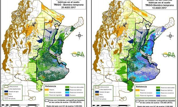 Reservas de humedad al 20 y 13 de agosto respectivamente.