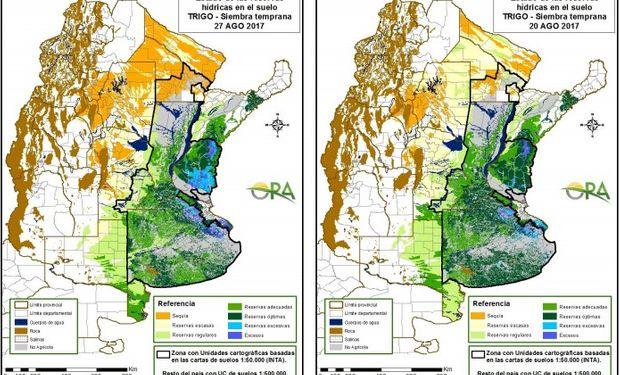 Reservas de humedad al 27 y 20 de agosto respectivamente.