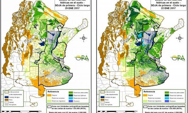 Reservas de humedad en soja al 29 y 22 de enero respectivamente.
