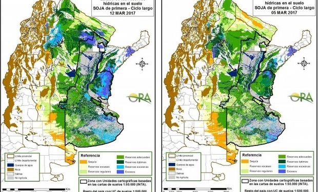 Reservas de humedad al 12 y 5 de marzo respectivamente.