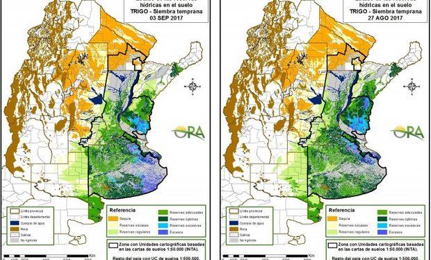 Reservas de humedad al 3 de septiembre y 27 de agosto respectivamente.