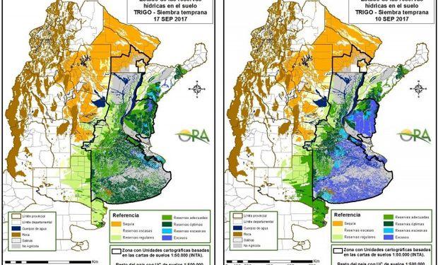 Reservas de humedad al 17 y 10 de septiembre respectivamente.