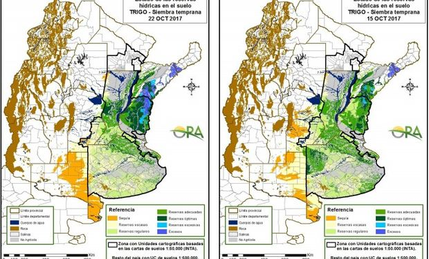 Reservas de humedad al 22 y 15 de octubre respectivamente.