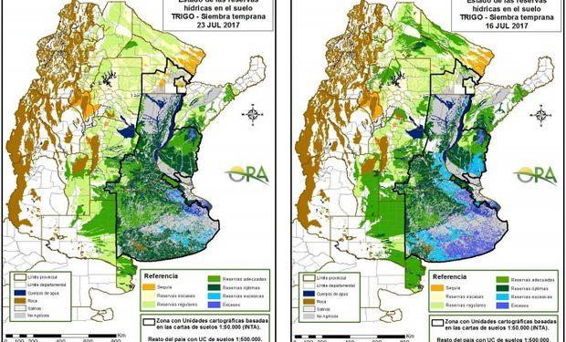 Reservas de humedad al 23 y 16 de julio respectivamente.
