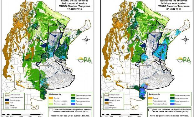 Reservas de humedad en trigo al 12 y 5 de junio respectivamente.