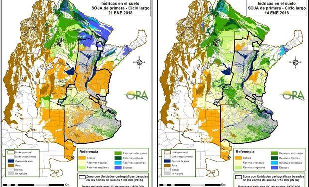 Reservas de humedad al 21 y al 14 de enero respectivamente.