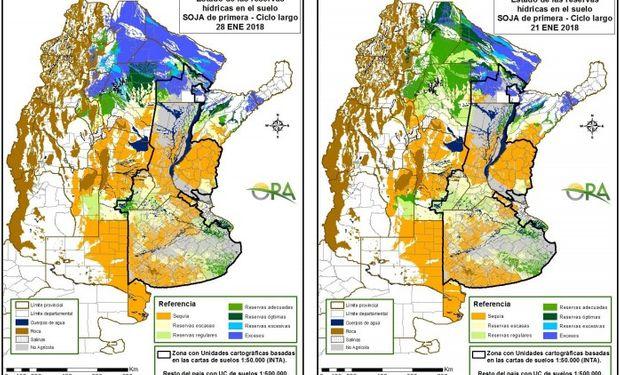 Reservas de agua en el suelo al 28 y 21 de enero respectivamente.