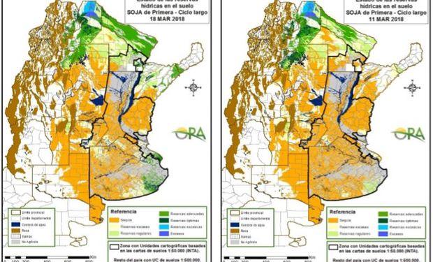 Los mapas corresponden a la estimación de contenido de agua en el suelo para lotes de soja de siembra temprana.