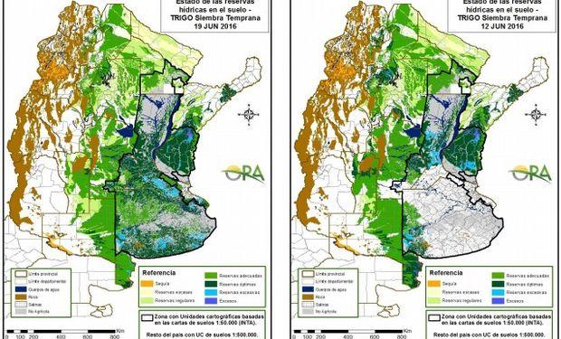Reservas de humedad en trigo al 19 y 12 de junio respectivamente.