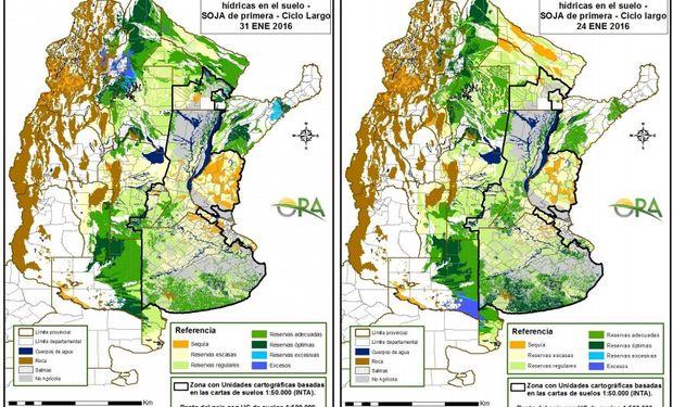 Reservas de humedad en soja de primera al 24 y al 31 de enero.