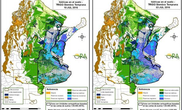 Estado de las reservas de humedad al 10 y 3 de julio respectivamente.