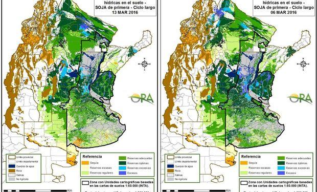 Reservas de humedad comparativamente al 7 y 13 de marzo.