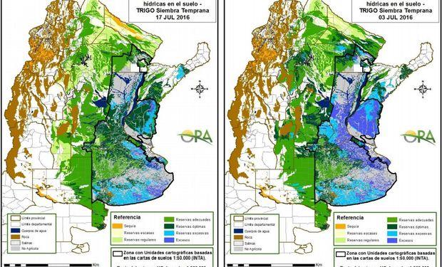 Reservas de humedad al 13 y al 17 de julio, respectivamente.