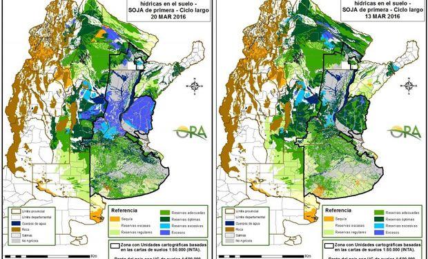 Reservas de humedad comparativamente al 13 y 20 de marzo.