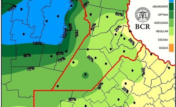 Estado de las reservas de humedad en el sur de la provincia de Santa Fe y alrededores. Fuente: BCR.