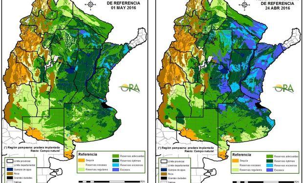 Reservas de humedad al 1 de mayo y 24 de abril, respectivamente.