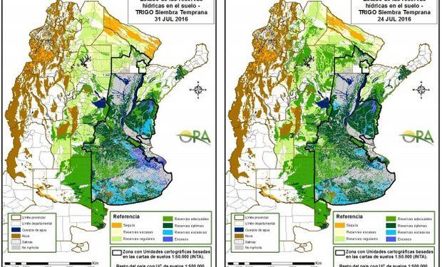 Reservas de humedad al 31 y al 24 de julio, respectivamente.