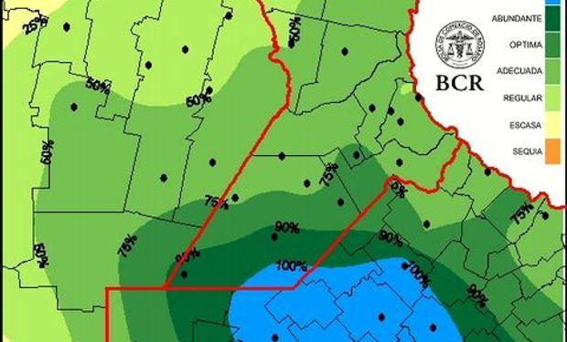 Reserva de agua útil para pradera al 4/6/2015. Fuente: BCR.
