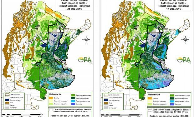 Reservas de humedad al 24 y al 17 de julio, respectivamente.