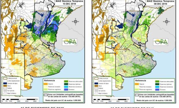Los mapas corresponden a la estimación de contenido de agua en el primer metro de suelo para maíz de siembra temprana.