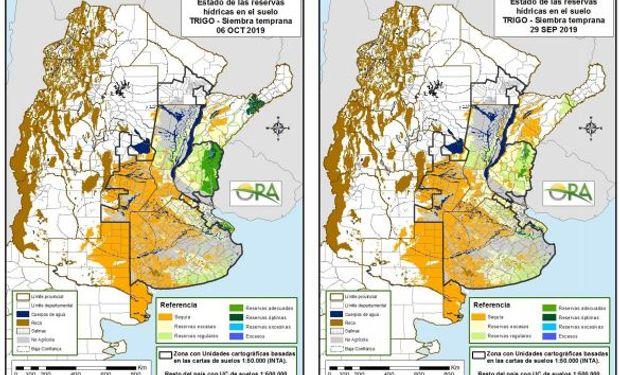 Trigo: reservas de humedad de ORA para el 29 de septiembre y 6 de octubre respectivamente.