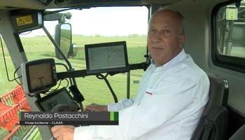 Reynaldo Postacchini muestra por dentro la nueva generación de cosechadoras de Claas que llegó a la Argentina