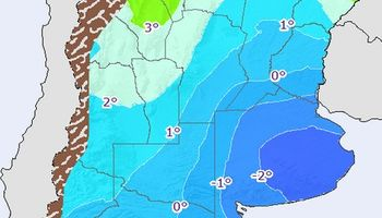 Probabilidad de heladas aisladas sobre Buenos Aires