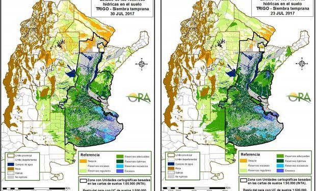Reservas de humedad al 30 y 23 de julio respectivamente.