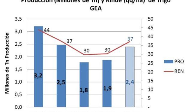 La primera proyección de rinde promedio de trigo para la región núcleo se sitúa en 37 qq/ha, lo que dejaría una producción de 2,4 millones de toneladas. Fuente: BCR