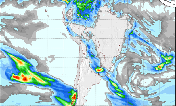 Pronóstico de precipitaciones para el lunes.