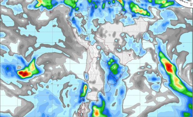 Mapa de precipitaciones válido para el 5 de junio de 2014